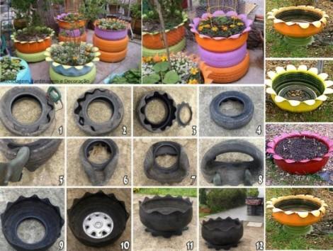 como hacer una jardinera con neumaticos paso a paso imagenes de tutoriales con llantas de caucho reuso y reciclo