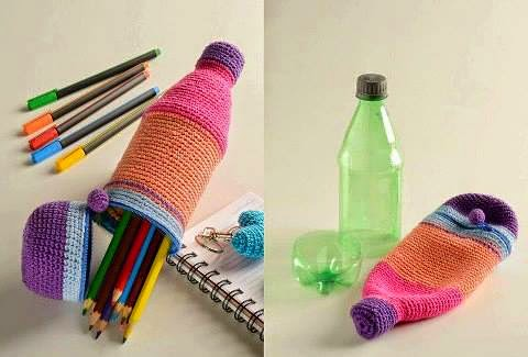 idea cartuchera crochet con botella
