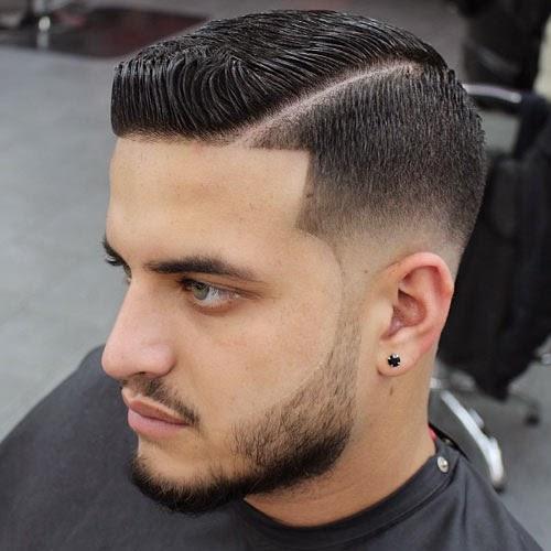 corte de pelo de hombre con la raya bien marcada