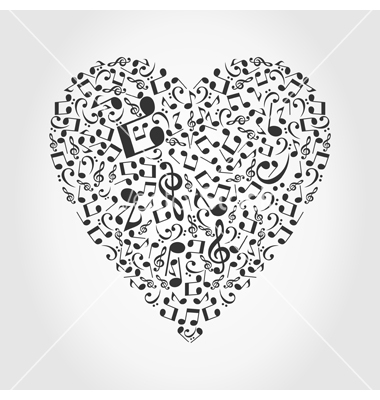 Heart collected from musical notes. A vector illustration