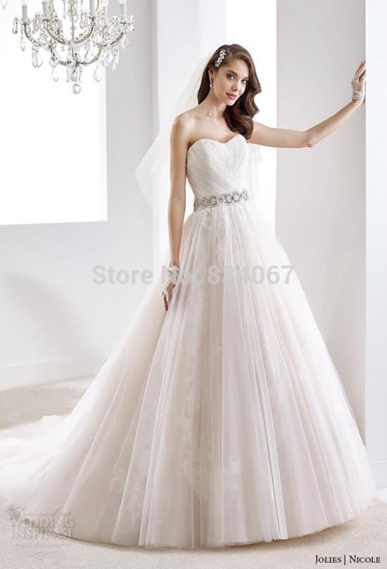 Vestidos-de-novia-2016-recién-llegado-de-Organza-una-línea-vestido-de-boda-con-correa-moldeada