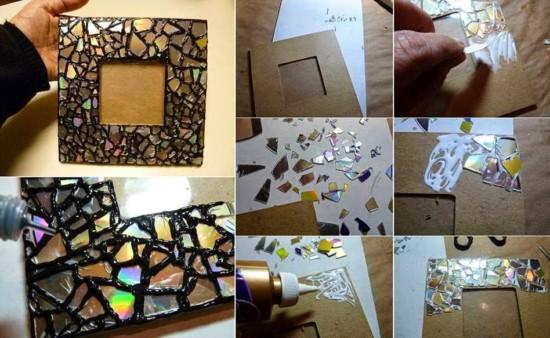 marcos para fotos con material de reciclaje