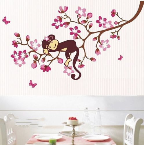 Cute-Monkey-font-b-Cherry-b-font-font-b-Blossom-b-font-Tree-cartoon-children-kids