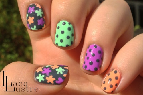 neon-and-gray-floral-and-dots-nail-art-1-1050x700