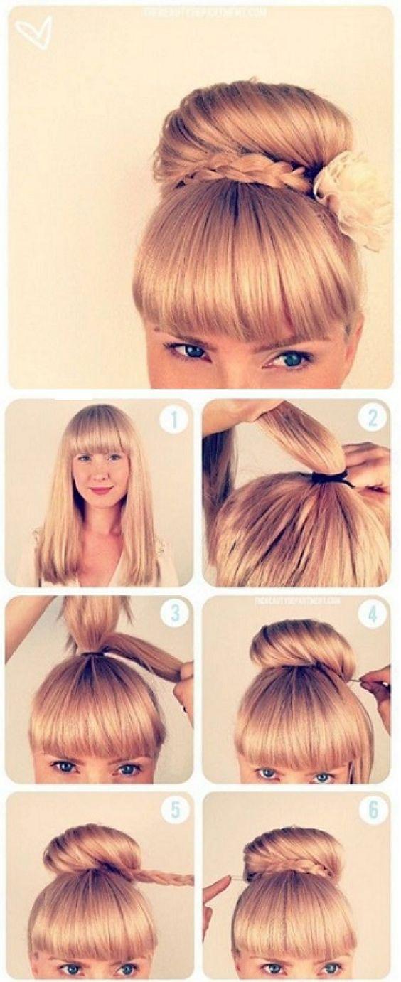 pasos para hacer un peinado con un rodete y trenza muy bello - Peinado Facil